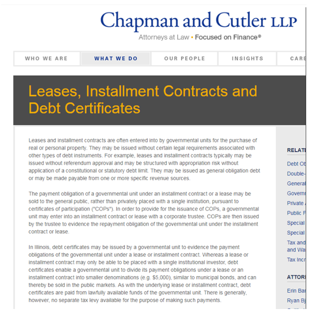 chapman cutler leade debt